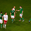 13 October 2018; Players from both side shake hands following the UEFA Nations League B group four match between Republic of Ireland and Denmark at the Aviva Stadium in Dublin. Photo by Sam Barnes/Sportsfile