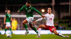 13 October 2018; Cyrus Christie of Republic of Ireland in action against Yussuf Poulsen of Denmark during the UEFA Nations League B group four match between Republic of Ireland and Denmark at the Aviva Stadium in Dublin. Photo by Stephen McCarthy/Sportsfile