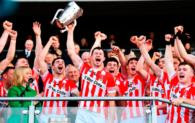 Imokilly captain Seamus Harnedy lifts the trophy following their victory in the Cork SHC final. Photo by Ramsey Cardy/Sportsfile