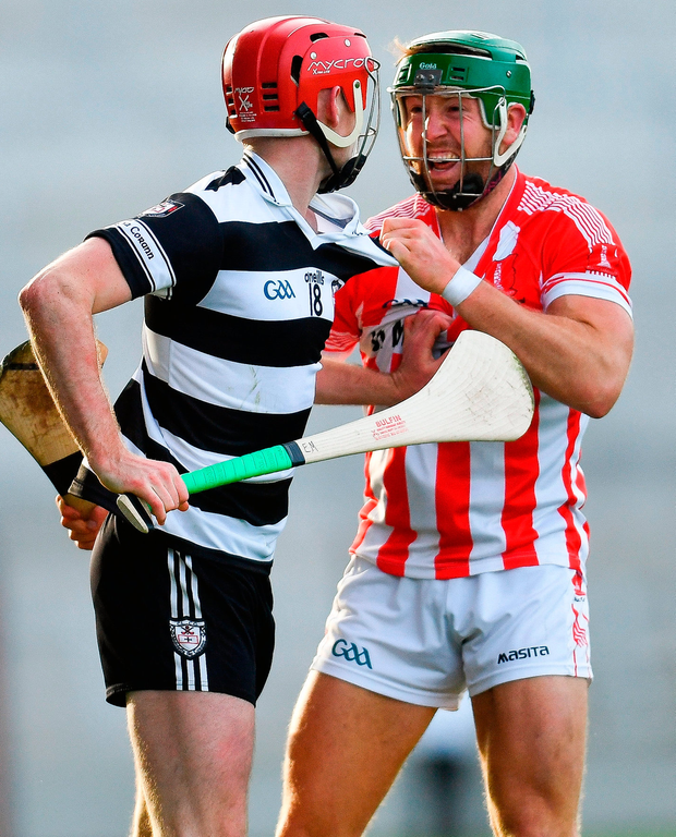 William Leahy of Imokilly tussles with Eoghan Moloney of Midleton during the Cork County Senior Hurling Championship Final. Photo: Ramsey Cardy/Sportsfile