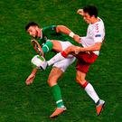Shane Long tussles with Thomas Delaney during Ireland's scoreless draw with Denmark. Photo: Sam Barnes/Sportsfile