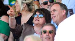 Under fire: Arlene Foster's appearance at the Donegal v Fermanagh GAA match in June is still proving contentious among DUP members. Photo: Ramsey Cardy/Sportsfile