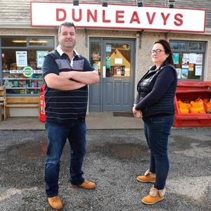 Slow lane: Gerry and Irene Rice at their corner shop in Maugherow, Co Sligo. Photo: Damien Eagers