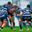 Connacht's Quinn Roux supported by team-mate Finlay Bealham takes on Bordeaux duo Viliamu Afatia (left) and Afa Amosa at The Sportsground. Photo: Piaras Ó Mídheach/Sportsfile