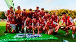 St Patrick's Athletic players celebrate with the cup following the National U-15 Cup final win over Cork. Photo: Tom Beary/Sportsfile