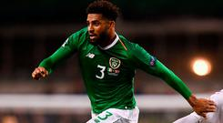 Cyrus Christie of Republic of Ireland in action against Yussuf Poulsen of Denmark during the UEFA Nations League B group four match between Republic of Ireland and Denmark at the Aviva Stadium in Dublin. Photo by Stephen McCarthy/Sportsfile