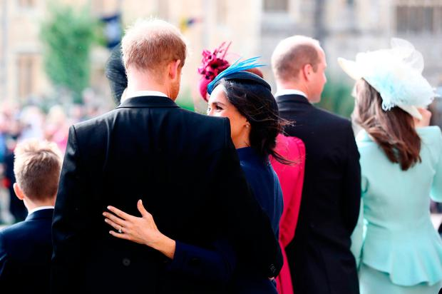 The Duchess of Sussex and the Duke of Sussex after the wedding of Princess Eugenie to Jack Brooksbank at St George's Chapel in Windsor Castle. PRESS ASSOCIATION Photo. Picture date: Friday October 12, 2018