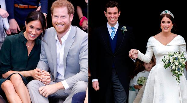 Meghan Markle and Prince Harry, left, Jack Brooksbank and Princess Eugenie on their wedding day, right