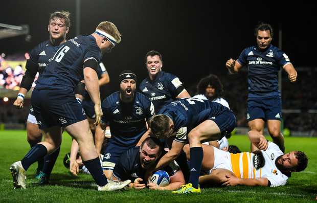 12 October 2018; Jack McGrath of Leinster celebrates scoring his side's eight try with team-mate Nick McCarthy during the Heineken Champions Cup Pool 1 Round 1 match between Leinster and Wasps at the RDS Arena in Dublin. Photo by Brendan Moran/Sportsfile