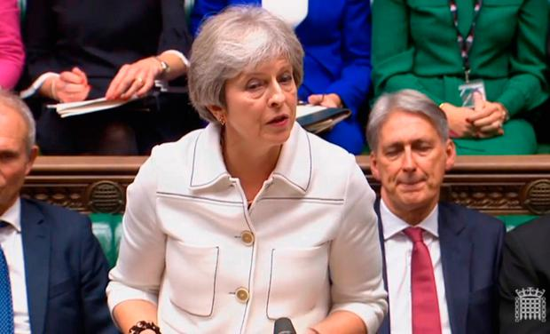 Prime Minister Theresa May addresses the House of Commons, London, with an update on the latest developments in the Brexit negotiations. PA Wire