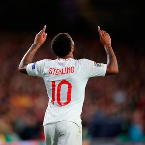England's Raheem Sterling celebrates scoring his side's first goal of the game during the Nations League match at Benito Villamarin Stadium, Seville. PRESS ASSOCIATION Photo. Picture date: Monday October 15, 2018. Nick Potts/PA Wire.