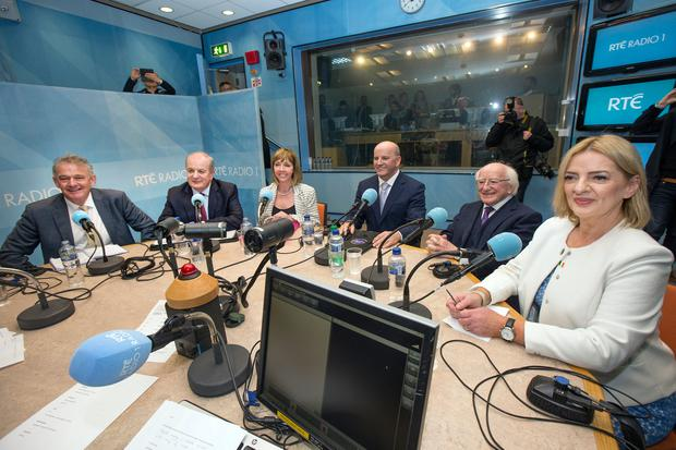 Ready for battle: The candidates in the RTÉ radio centre ahead of the first presidential debate on Saturday. Photo: Tony Gavin