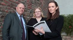 Rod Baker, Hogan Lovells with Claire McGettrick and Dr Maeve O'Rourke at the release of the Clann Project report. Photo: Arthur Carron