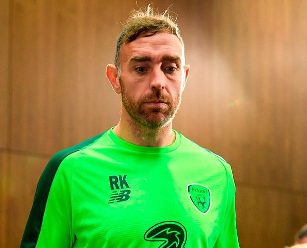 Richard Keogh prepares to answer questions in a press conference. Photo: Stephen McCarthy/Sportsfile
