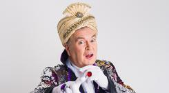 Reflective role: Joe Duffy as the Magic Mirror in the 'Snow White' panto at the Tivoli this winter. Photo: Brendan Lyon