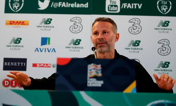 Managing expectations: Ryan Giggs answers questions at a press conference in Dublin. Photo: John Sibley/Action Images via Reuters
