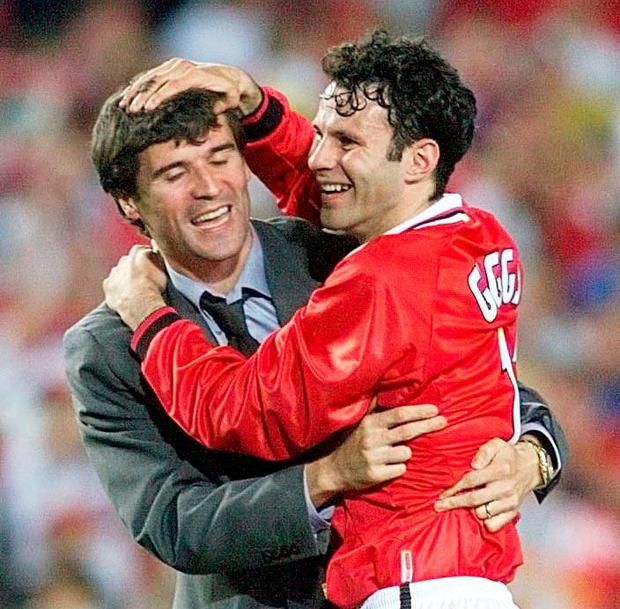 The pair celebrate after the 1999 Champions League final. Photo: Phil Noble/PA Wire