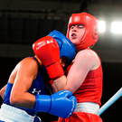 Ireland's Dearbhla Rooney from Manorhamilton, Co Leitrim, against Roma Linda Martinez of USA during the Youth Olympics quarter-final. Photo: Eóin Noonan/Sportsfile