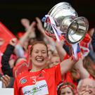 Cork captain Rena Buckley lifts the O'Duffy Cup last year. Photo: Piaras Ó Mídheach/Sportsfile