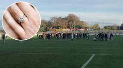 Two Mile House players and supporters looking for a lost engagement ring on the St Conleth's Park pitch, photo via Twitter.com / Kildare Nat Sport   Inset: Stock photo