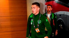 Ciaran Clark of Republic of Ireland arrives prior to the UEFA Nations League B group four match between Republic of Ireland and Denmark at the Aviva Stadium in Dublin. Photo by Stephen McCarthy/Sportsfile