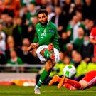 Cyrus Christie of Republic of Ireland has a shot on goal during the UEFA Nations League B group four match between Republic of Ireland and Wales at the Aviva Stadium in Dublin. Photo by Seb Daly/Sportsfile