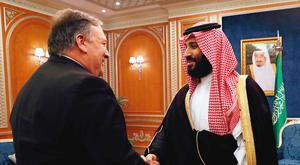 Seeking answers: US secretary of state Mike Pompeo meets Crown Prince Mohammed in Riyadh. Photo: Leah Millis
