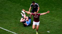 Galway's Damien Comer celebrates after scoring a goal against Dublin in last August's All-Ireland SFC semi-final at Croke Park. Photo: Daire Brennan/Sportsfile