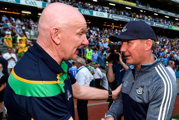 RIVALS: Donegal manager Declan Bonner shakes hands with Dublin's Jim Gavin following their All-Ireland SFC quarter-final Group 2 Phase 1 clash back in July. Photo: David Fitzgerald/Sportsfile