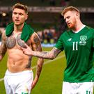 James McClean, right, and Jeff Hendrick of Republic of Ireland reacts following their side's defeat during the UEFA Nations League B group four match between Republic of Ireland and Wales at the Aviva Stadium in Dublin. Photo by Stephen McCarthy/Sportsfile