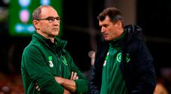 Republic of Ireland manager Martin O'Neill and assistant manager Roy Keane following the UEFA Nations League B group four match between Republic of Ireland and Wales at the Aviva Stadium in Dublin. Photo by Stephen McCarthy/Sportsfile