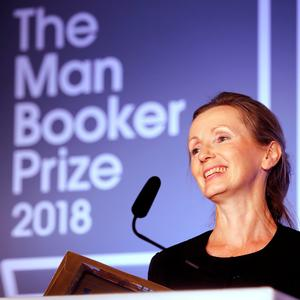 A first for the North: Anna Burns on stage at the Guildhall in London after she was awarded the Man Booker Prize last night. Photo: PRESS ASSOCIATION