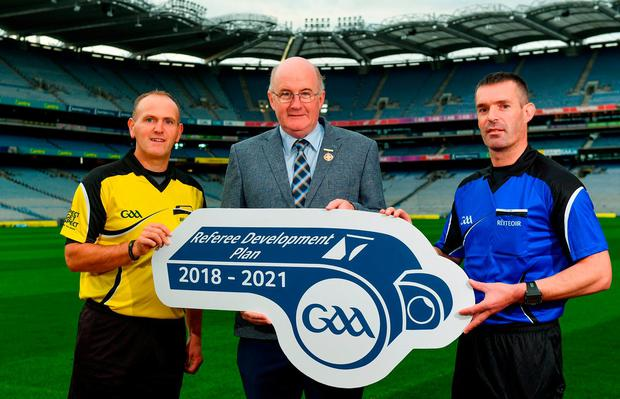 In attendance during the Referee Development Plan Launch is Uachtarán Chumann Lúthchleas Gael John Horan, with referees Conor Lane, left, and James Owens, at Croke Park in Dublin. Photo: Sam Barnes/Sportsfile