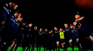 The Leinster team huddle following their victory in the Heineken Champions Cup Pool 1 Round 1 match between Leinster and Wasps at the RDS Arena in Dublin. Photo by Ramsey Cardy/Sportsfile