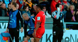 GLASGOW, SCOTLAND - OCTOBER 14: Mako Vunipola of Saracens walks off the field after injuring his left calf during the Champions Cup match between Glasgow Warriors and Saracens at the Scotstoun Stadium on October 14, 2018 in Glasgow, United Kingdom. (Photo by David Rogers/Getty Images)