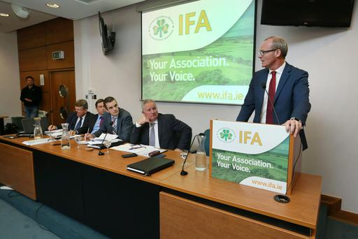 Tanaiste Simon Coveney addressing the IFA National Council in Dublin on the latest developments on Brexit. Picture: Finbarr O'Rourke