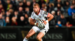 7 September 2018; Will Addison of Ulster during the Guinness PRO14 Round 2 match between Ulster and Edinburgh Rugby at the Kingspan Stadium in Belfast. Photo by Oliver McVeigh/Sportsfile