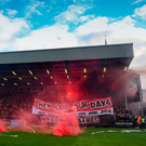 30 September 2018; Bohemians supporters prior to the Irish Daily Mail FAI Cup Semi-Final match between Bohemians and Cork City at Dalymount Park in Dublin. Photo by Stephen McCarthy/Sportsfile