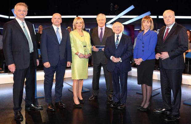 Presidential Candidates in studio with Pat Kenny for Virgin Media Television's Presidential Debate