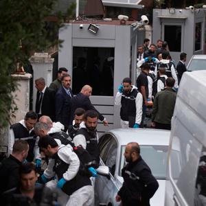Ready to go: Turkish police officers gather as they prepare to enter Saudi Arabia consul's residence, in Istanbul. Photo: AP