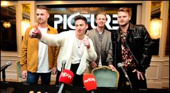 Owen Cardiff, Ryan Hennessy, Jimmy Rainsford and Cliff Deane from band Picture This speaking to media and fans during a press briefing at The Westbury Hotel as they announce their new tour and album. Pic Steve Humphreys 17th October 2018