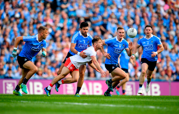 2 September 2018; Mark Bradley of Tyrone in action against, from left, Jonny Cooper, Cian O'Sullivan, Ciarán Kilkenny, Philip McMahon of Dublin during the GAA Football All-Ireland Senior Championship Final match between Dublin and Tyrone at Croke Park in Dublin. Photo by Stephen McCarthy/Sportsfile