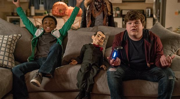 Caleel Harris, Madison Iseman, Slappy and Jeremy Ray Taylor in Columbia Pictures' Goosebumps 2: Haunted Halloween