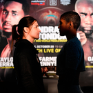 Katie Taylor, left, and Cindy Serrano square off
