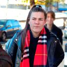 Rebecca Kelly, 20, of Pearse House, Pearse Street, Dublin pictured leaving the Four Courts yesterday after she was awarded €550,000 damages following a High Court action. Pic: Collins Courts