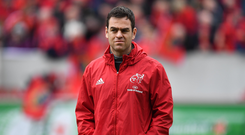 31 March 2018; Munster head coach Johann van Graan prior to during the European Rugby Champions Cup quarter-final match between Munster and RC Toulon at Thomond Park in Limerick. Photo by Brendan Moran/Sportsfile
