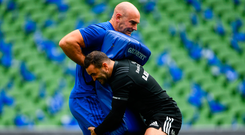 5 October 2018; Dave Kearney and contact skills coach Hugh Hogan during the Leinster Rugby captains run at the Aviva Stadium in Dublin. Photo by Ramsey Cardy/Sportsfile