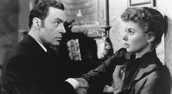 Ingrid Bergman plays a woman manipulated by her husband, played by Charles Boyer into believing she's losing her sanity in 1944's Gas Light