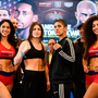 19 October 2018; Katie Taylor, left, and Cindy Serrano square off after weighing in at the Boston Harbour Hotel ahead of their WBA & IBF World Lightweight title bout on Saturday night at the TD Garden in Boston, Massachusetts, USA. Photo by Stephen McCarthy/Sportsfile