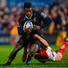 13 October 2017; Christian Wade of Wasps is tackled by Jacob Stockdale of Ulster during the European Rugby Champions Cup Pool 1 Round 1 match between Ulster and Wasps at Kingspan Stadium in Belfast. Photo by Oliver McVeigh/Sportsfile